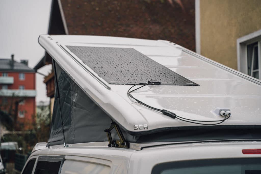 flexibles Solarmodul VW T5 Montage aufstelldach