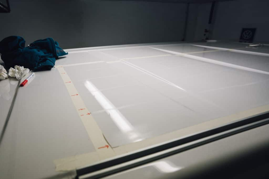 Oberfläche anrauen Wohnmobil Solaranlage